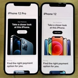 iPhone 12 pro and regular