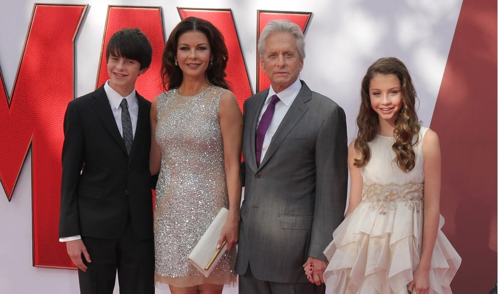 Michael Douglas with wife and children