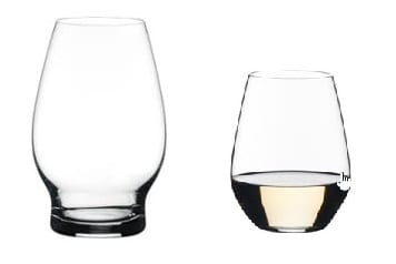 Beer (left) and wine glasses on sale