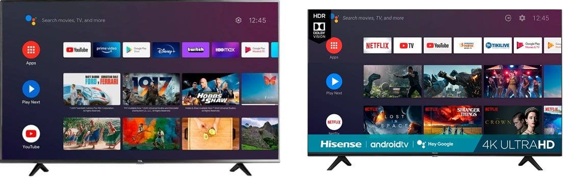TCL and Hisense TVs on sale