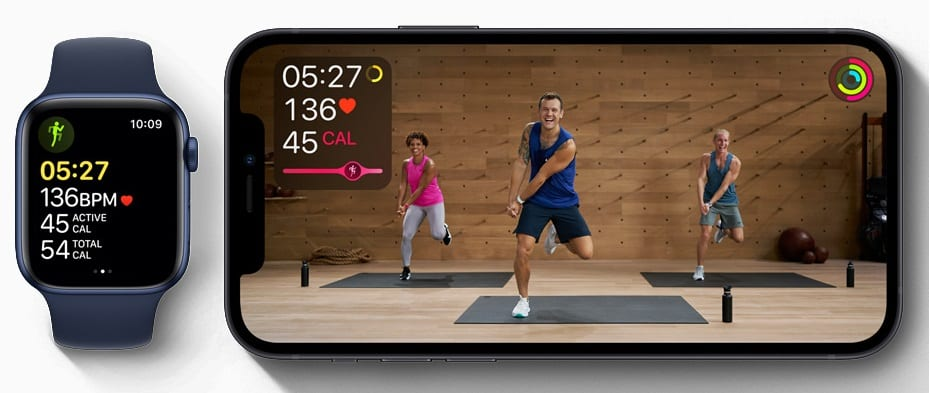 Apple Watch paired with Fitness+